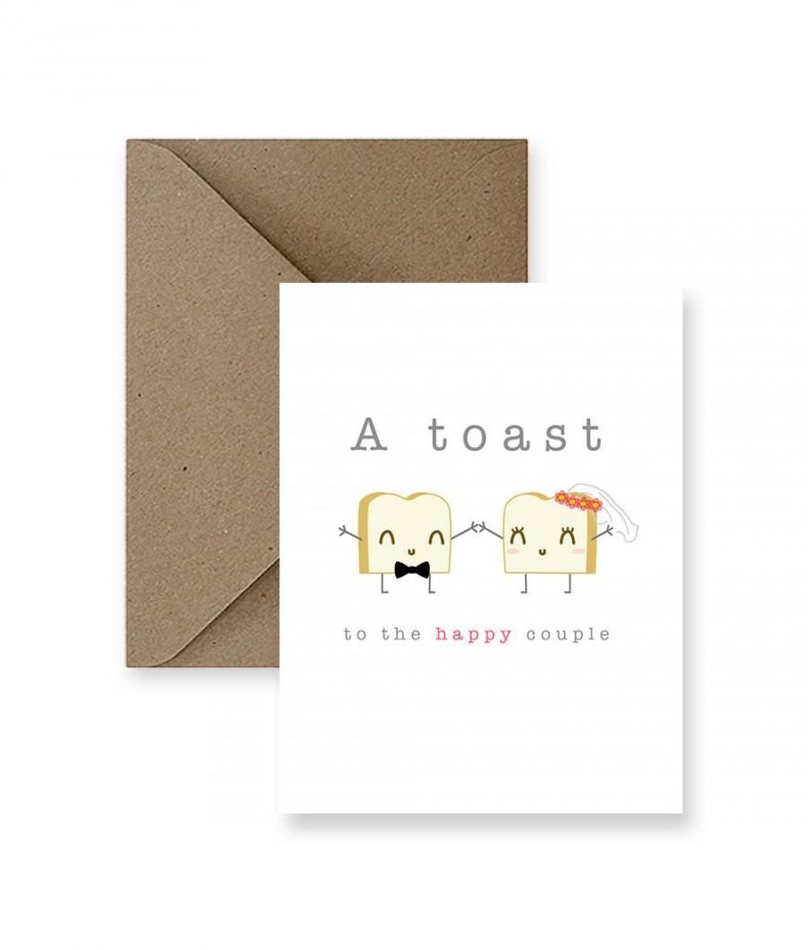 Hochzeit - Funny Wedding Card, Cute Wedding Card,  Funny Marriage Card, Cute Marriage Card, Card for Wedding, A Toast To The Happy Couple Greeting Card