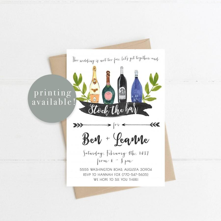 Wedding - Stock the Bar Invitation, Wedding Shower, Couples Shower, Wine Bottle, Printable Invitation, Printed Invitations (685)