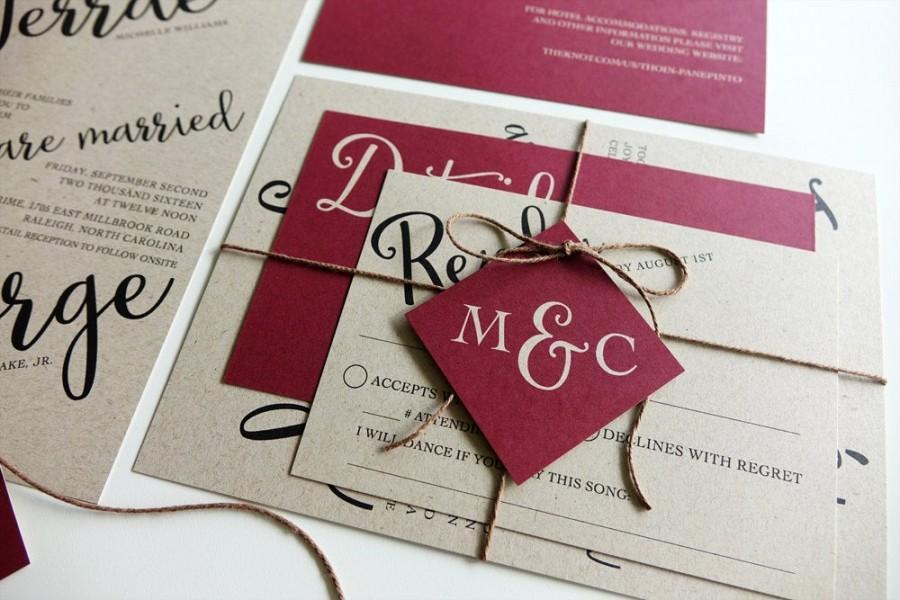 Wedding - Rustic Wedding Invitation, Red Burgandy Kraft Paper, Twine and Tag, Invitation Set, Modern Script Wedding Red Berry, Printable DIY, Monogram
