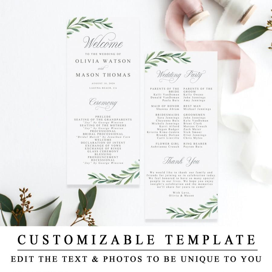 Свадьба - Greenery Wedding Ceremony Program, Printable Wedding Program Templates, Editable Wedding Timeline, Rustic Order of Ceremony INSTANT DOWNLOAD