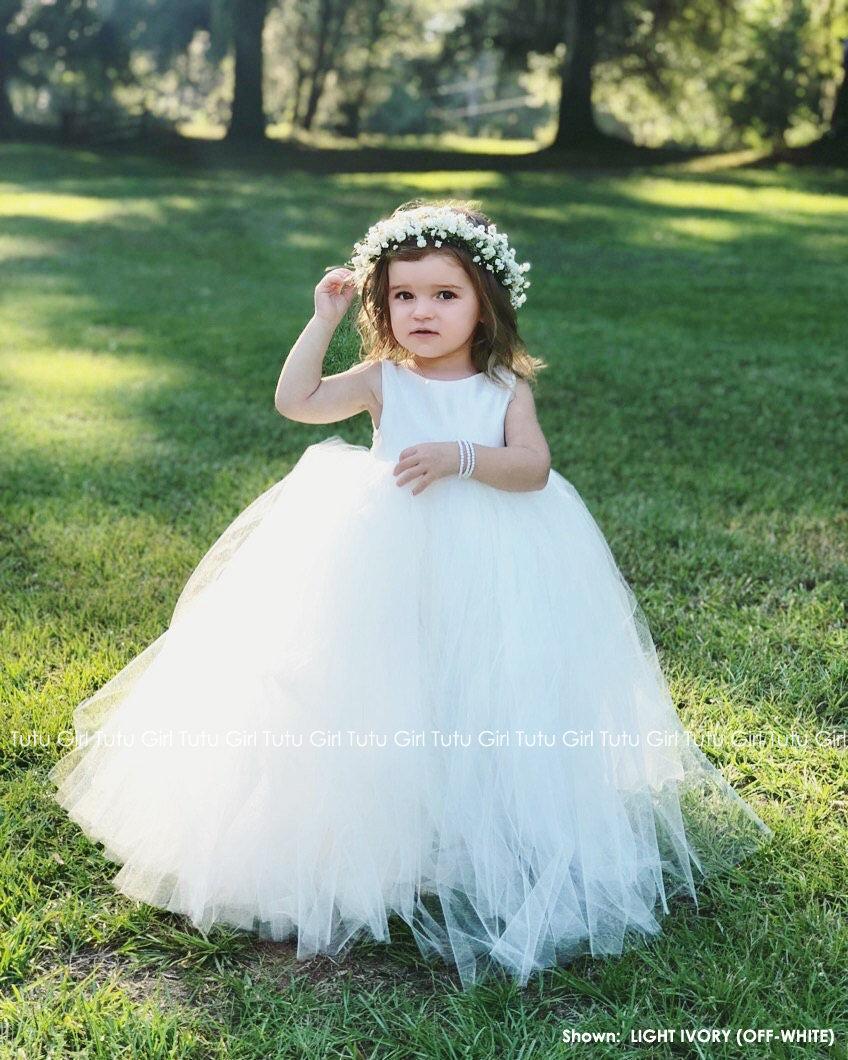 Wedding - Flower Girl Dress Ivory, Tulle Flower Girl Dresses, Floor Length, Tutu Dress, Toddler, Baby, Flower Girl, Birthday