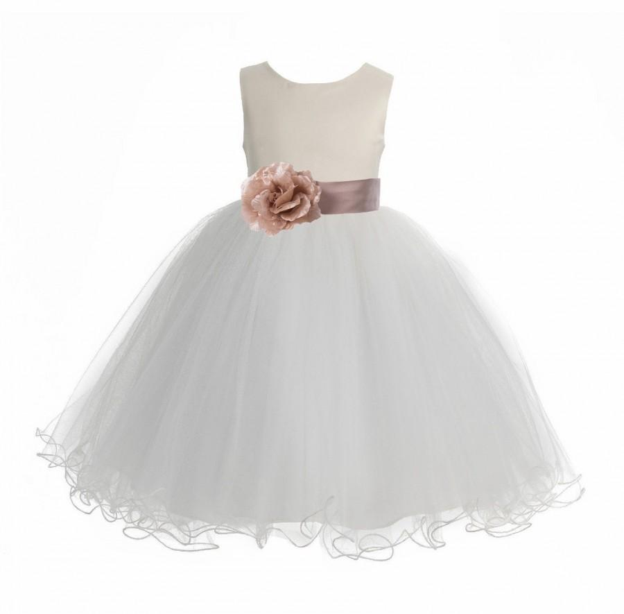 Hochzeit - Satin Ivory Flower Girl Dress, Ivory Tulle Dress, Wedding Flower Girl Dresses, Rustic Girl Dress, Christening Dress, First Communion Dresses