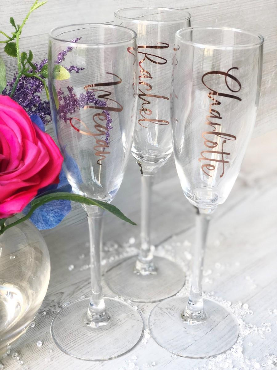 Wedding - Champagne Flute Decals, Rose Gold Vinyls, Silver, Wedding Party Names, Personalised Stickers, Bridal Shower, Wedding Role Vinyl