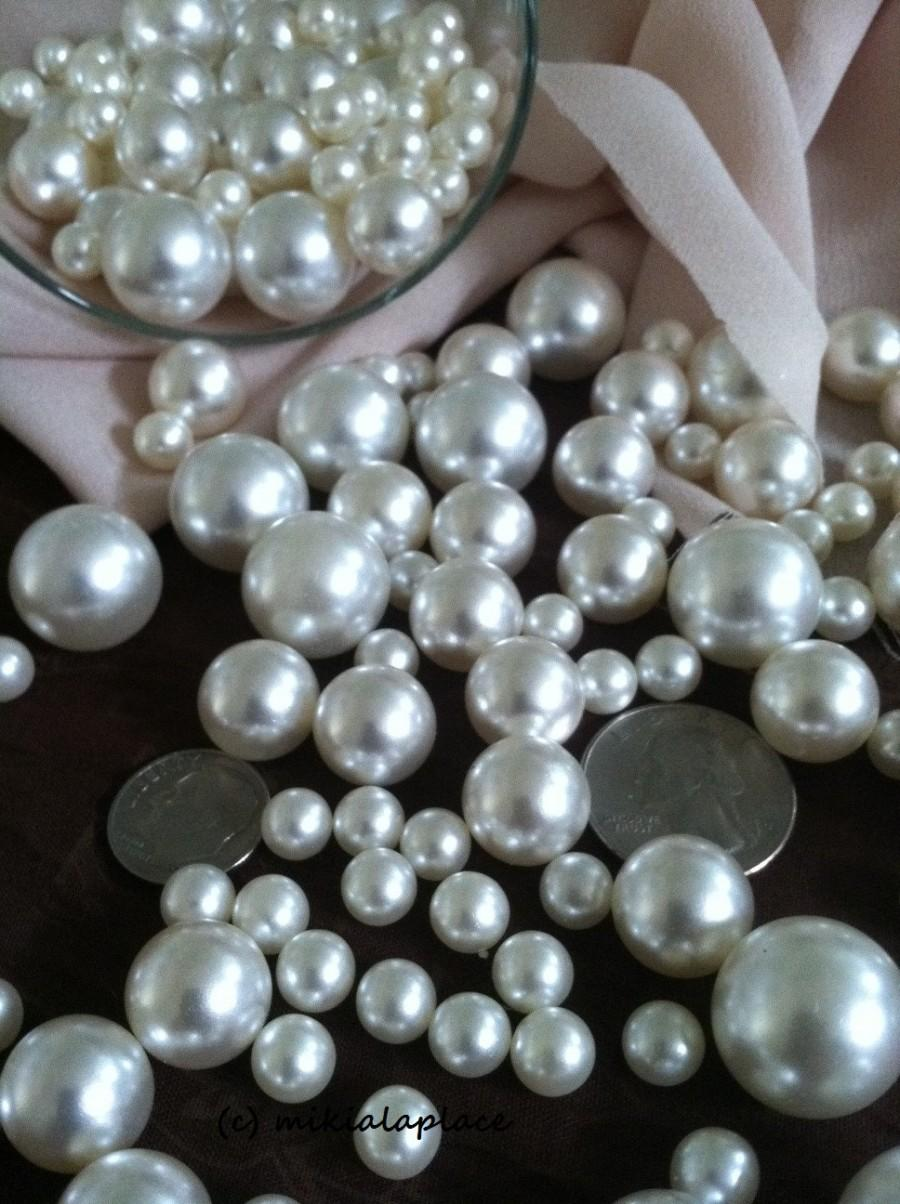 Wedding - 375 Pcs Ivory/White Pearl Beads No Holes (Mix 18mm, 14mm, 10mm, 8mm, 6mm) Vase Fillers