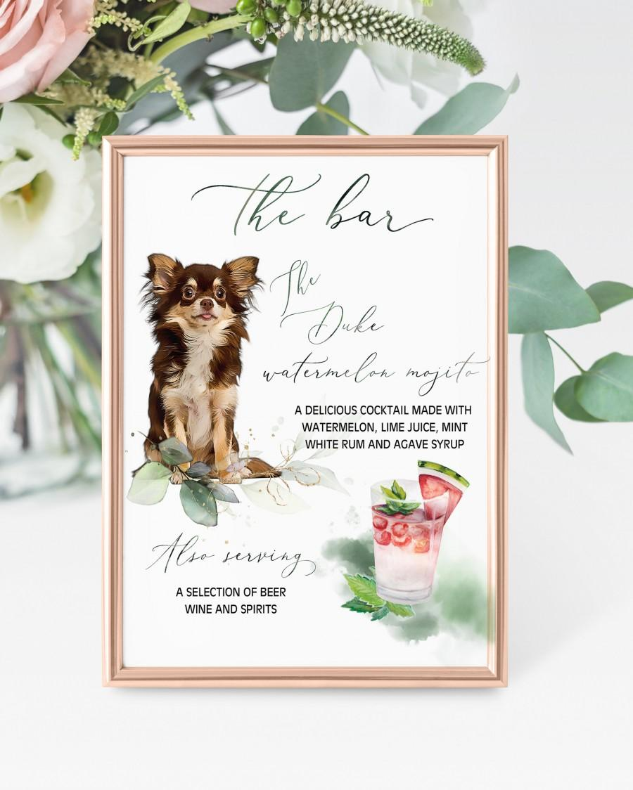 Wedding - Greenery Dog Bar Menu Sign Digital Download, Dog Cocktail Sign, Greenery Wedding Signage, Dog Wedding Sign, Custom Pet Cocktail Sign
