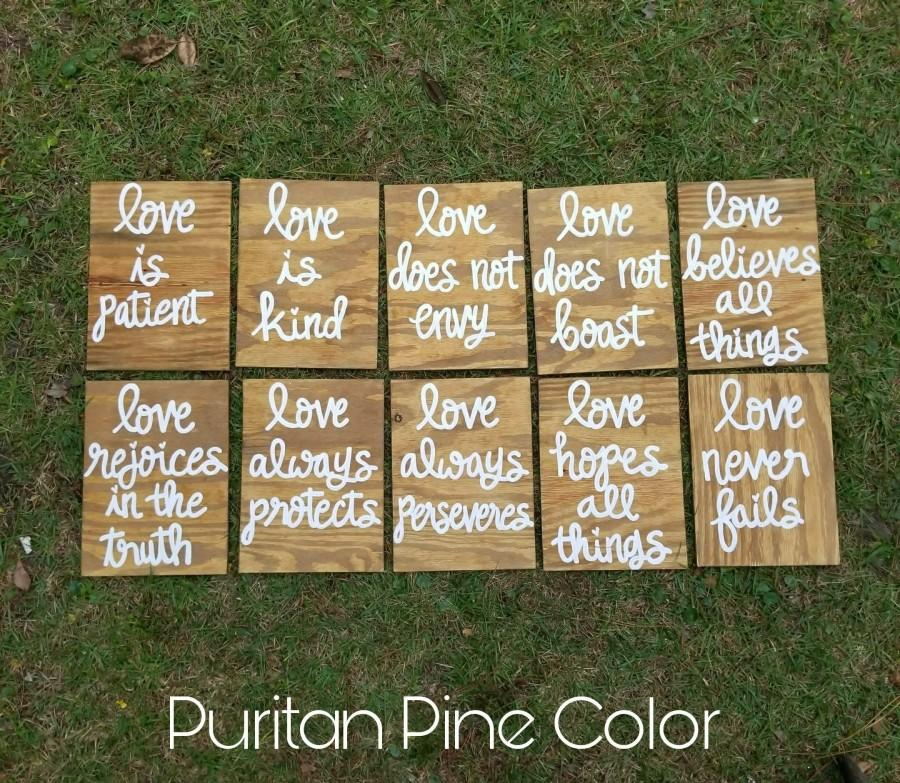 Mariage - Wedding Aisle Signs, 1 Corinthians 13 Wedding Signs, Love is Patient, Love is Kind, Hand Painted Wood Wedding Signage