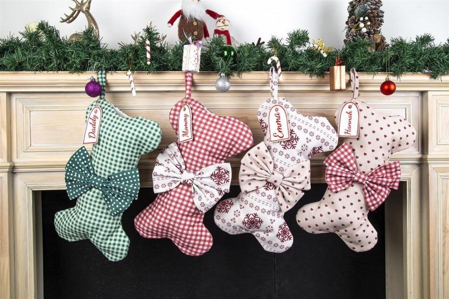 Wedding - Personalized Christmas Stocking,Custom Dog Bone Chirstmas Stocking,Pet Stocking,Embroidered Christmas Stocking,Personalized Dog Xmas