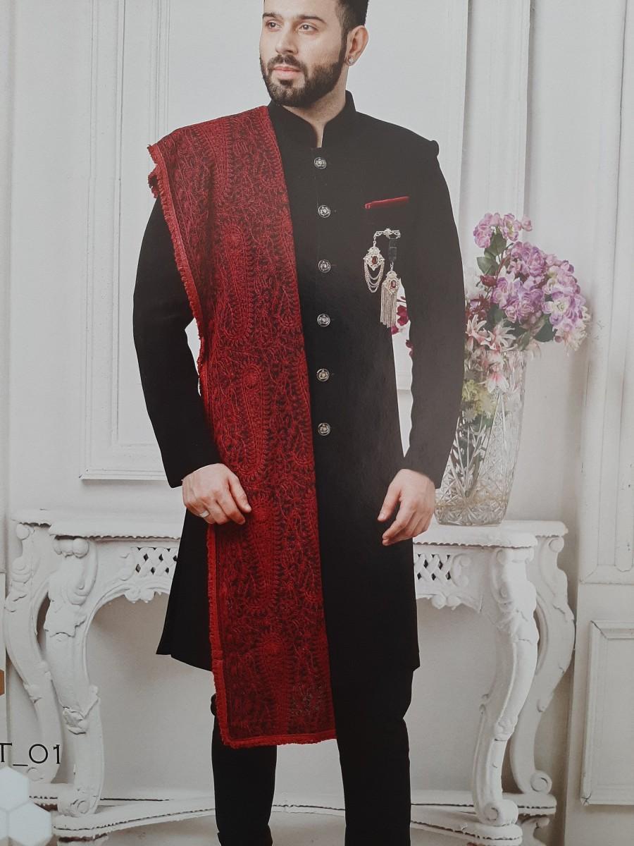 Wedding - Men Indian Styled Smart Look Jodhpuri  Suit with Dupatta, Sherwani for men with Designer Traditional Jacket Blazer Dress wedding  wear