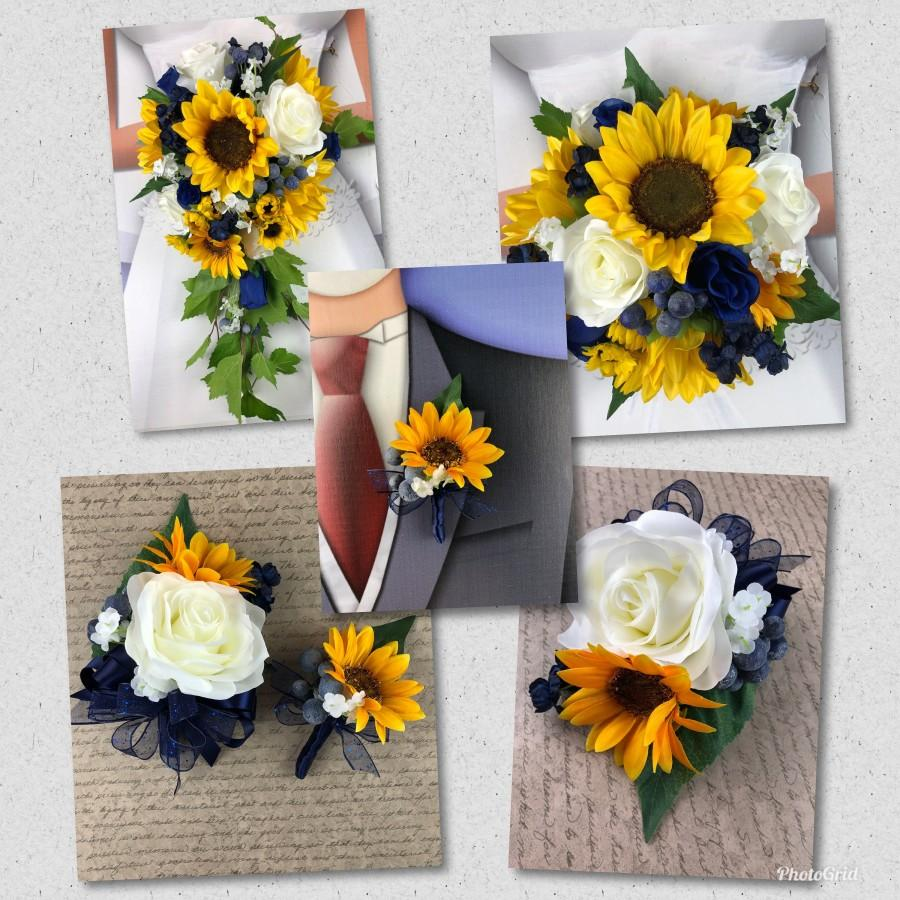 زفاف - Artificial Navy and Sunflower Bridal Bouquet, Navy and Sunflower Bridal Flowers, Navy and Sunflower Wedding Flowers