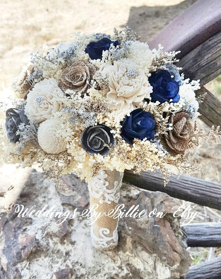 Mariage - Navy Blue Silver Sola Bouquet, Sola Flowers, Navy Silver Wedding Bouquet, Wedding Flowers, Rustic Shabby Chic, Bridal Accessories, Keepsake