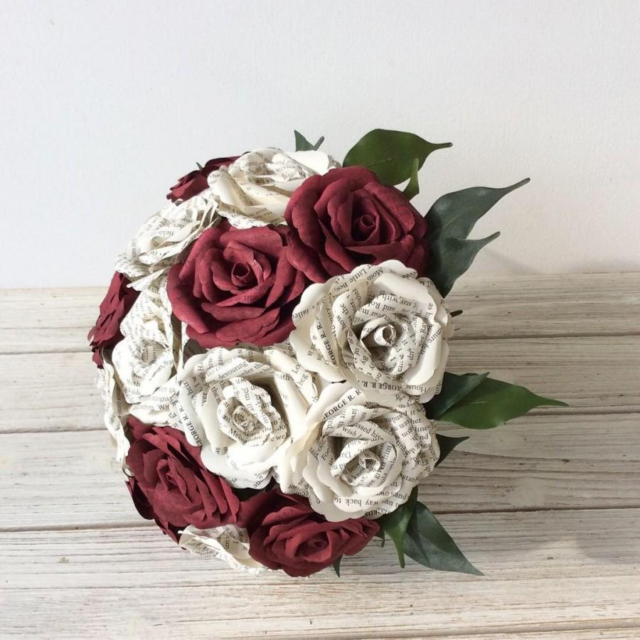 زفاف - Book Bouquet, Paper Bouquet, Custom Book Bouquet, Wedding Bouquet Burgundy, Book Flowers, Paper Roses, Eternity Blossom