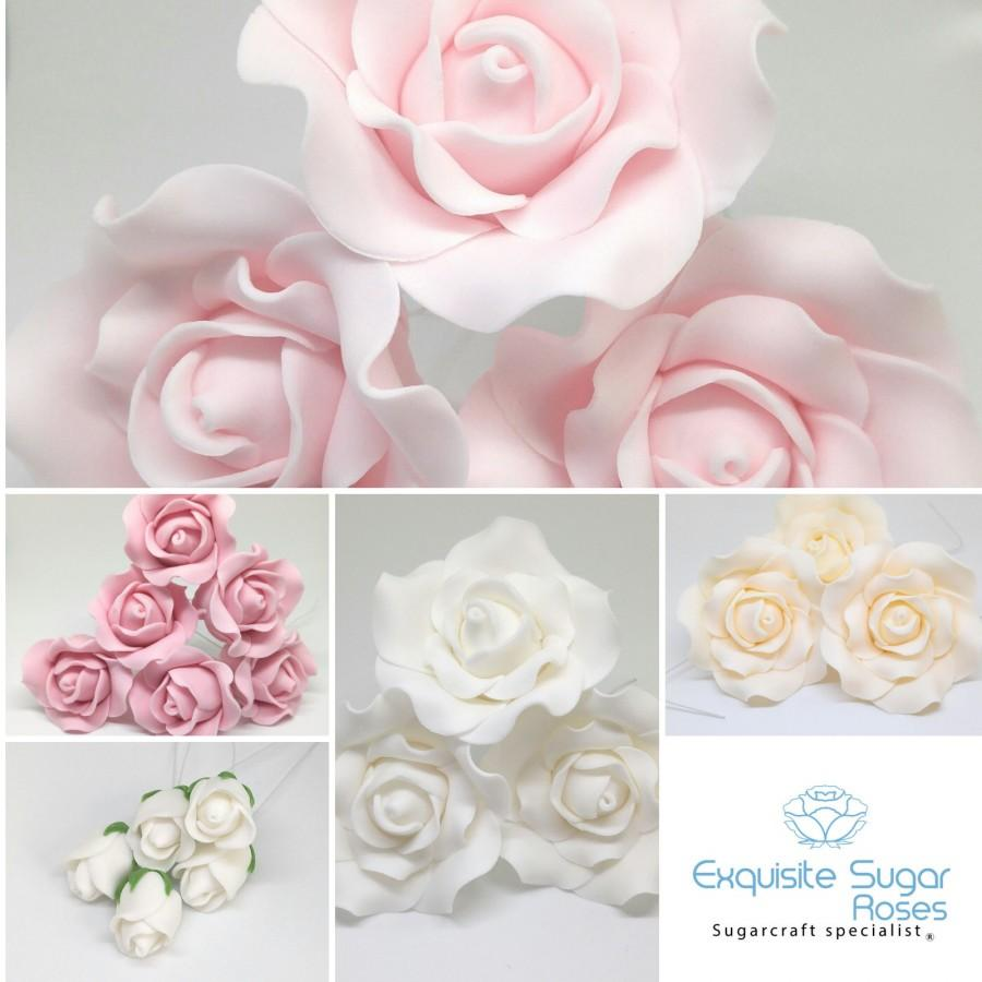 Wedding - SUGAR ROSE FLOWERS wedding cake birthday cake topper decoration (wired) ** many colours  **  ** multi buy pay 1 flat rate postage cost **