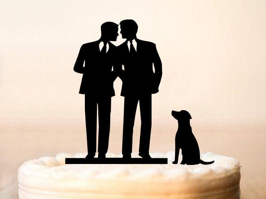 Hochzeit - Gay Cake Topper + DOG, Same Sex Cake Topper, Gay Wedding Cake Topper,Gay silhouette,Homosexual,Wedding Cake Topper For Men, mr and mr (0065)