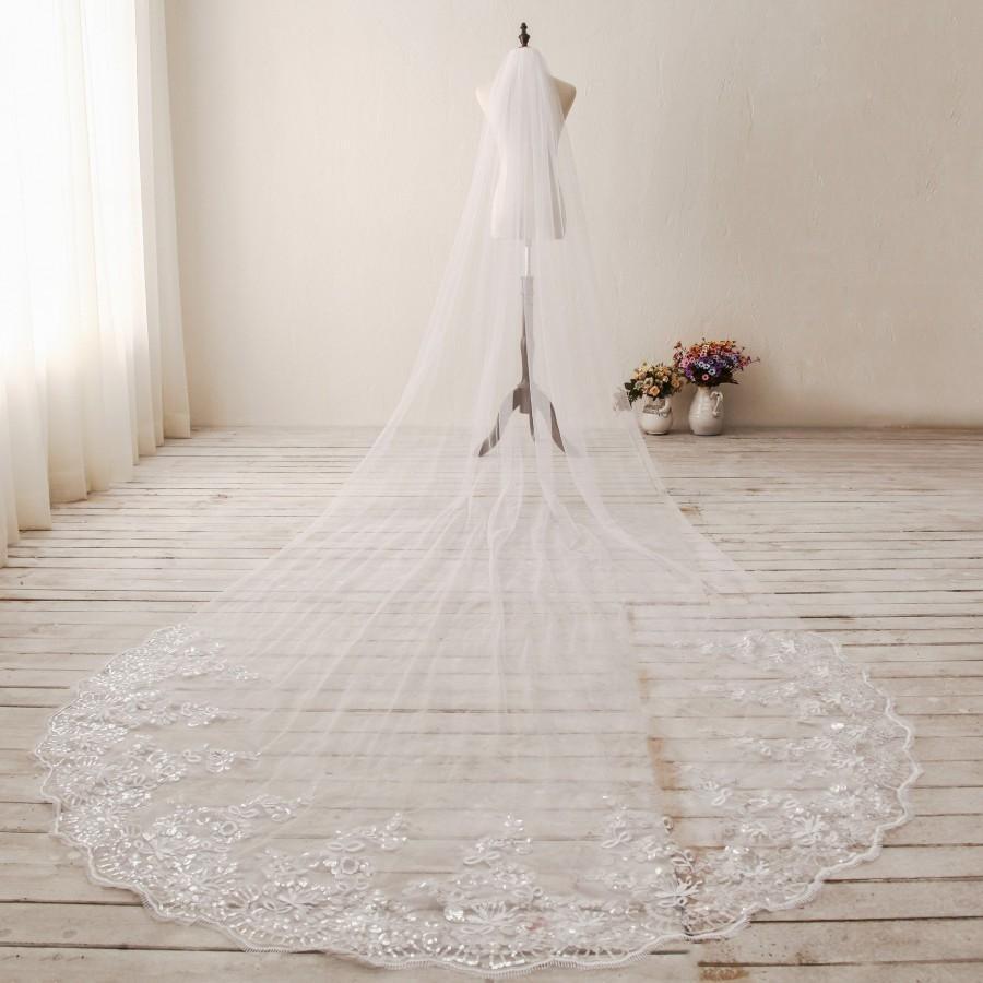 Wedding - Single Tier Lace Wedding Veil Cathedral Wedding Veil Chapel Wedding Veil Ivory/White Wedding Veil Sequined Custom Bachelorette Veil