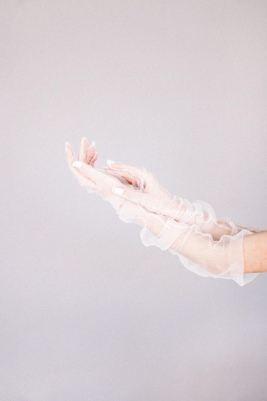 Wedding - Long Bridal Gloves / Wedding gloves nude tulle / Ladies' gloves Bridesmaid, Wedding Accessories, Gloves of opera-length