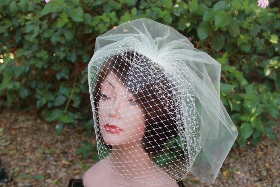 Hochzeit - Bridal  Birdcage Veil  Blusher Veil Double Layered Tulle and Russian French Netting  for your Wedding