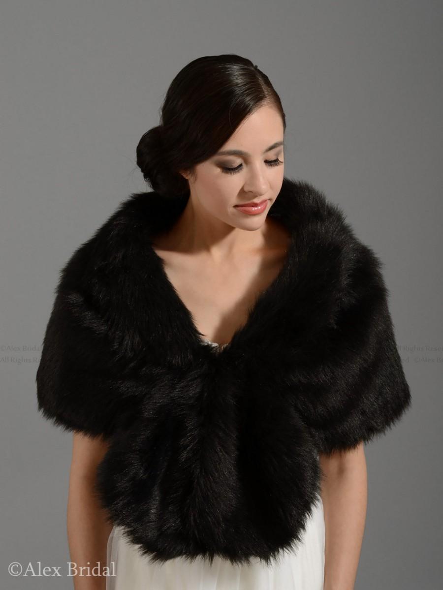 زفاف - Black faux fur wrap faux fur shawl faux fur shrug faux fur stole bridal wrap wedding wrap A001-Black