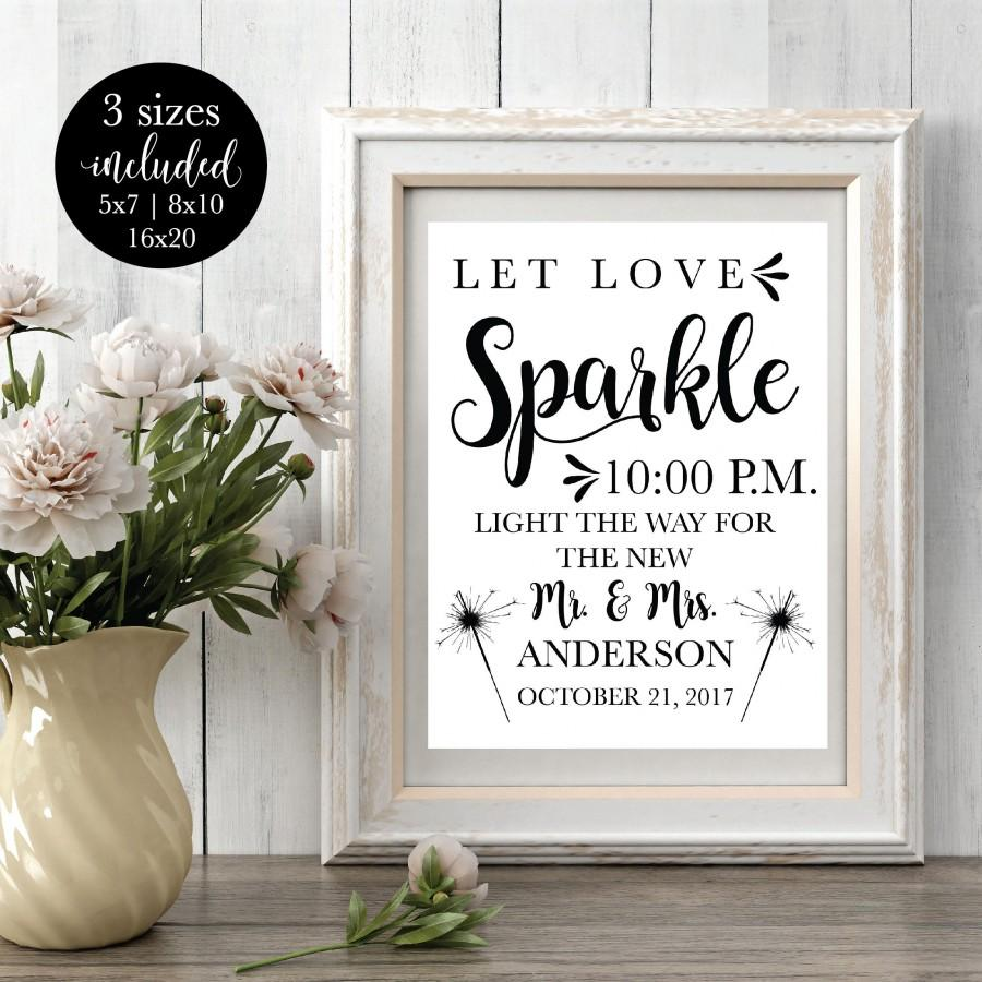 Mariage - Printable Wedding Sparkler Sign Editable, Reception Let Love Sparkle Signage, Send Off Light The Way Sign, DIY Instant Download Template
