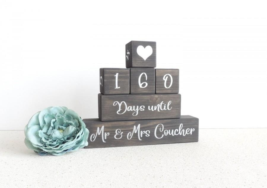 Свадьба - personalised wedding countdown, black and silver, wedding days, days until, wooden countdown, countdown blocks, fiance gift, engagement