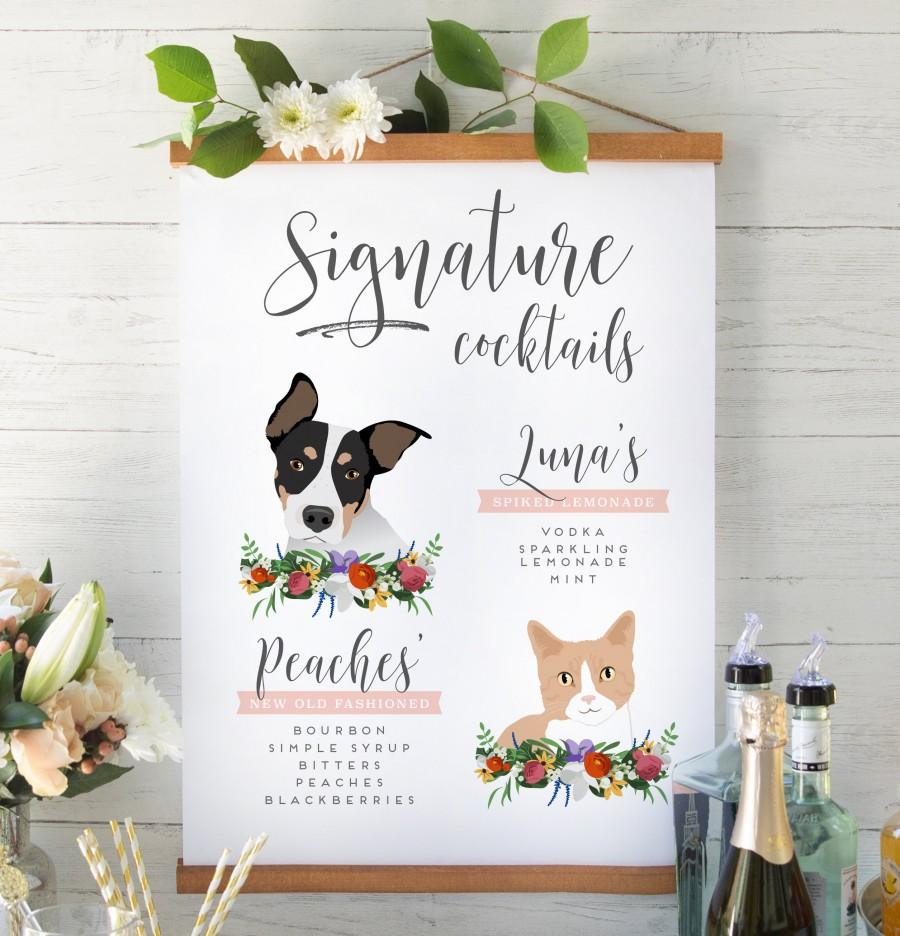 Wedding - Signature Drinks Sign with Pets for Wedding Bar - Cat Illustration Signature Cocktails Sign - Wedding Bar - The Penny Set
