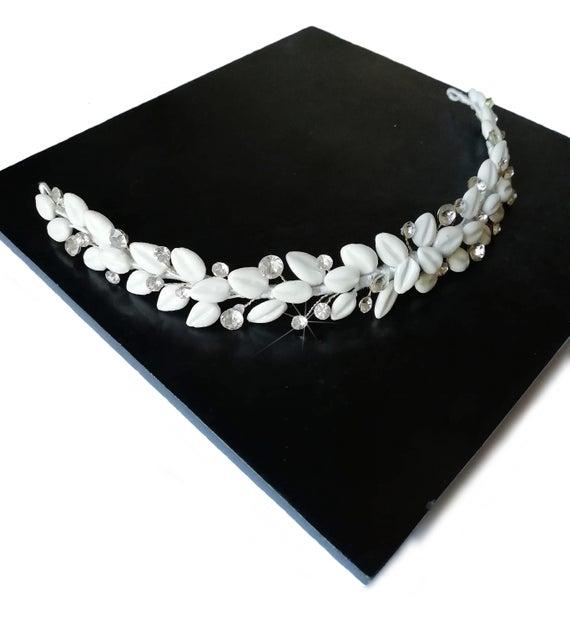 Hochzeit - Crystal bridal hairpiece, Wedding Hair Accessory, Rhinestone headpiece, Bridal headband, Leaf headband, Bridal hair vine, PP-002