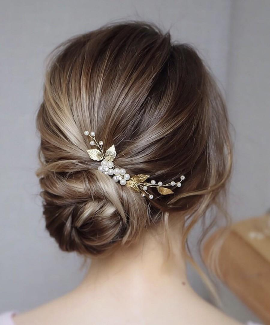 Mariage - Bridal hair piece, Wedding hair pins, Bridal hair accessories, Bridal hair vine, Bridal headpiece, Gold bridal hair pins, Wedding hair piece