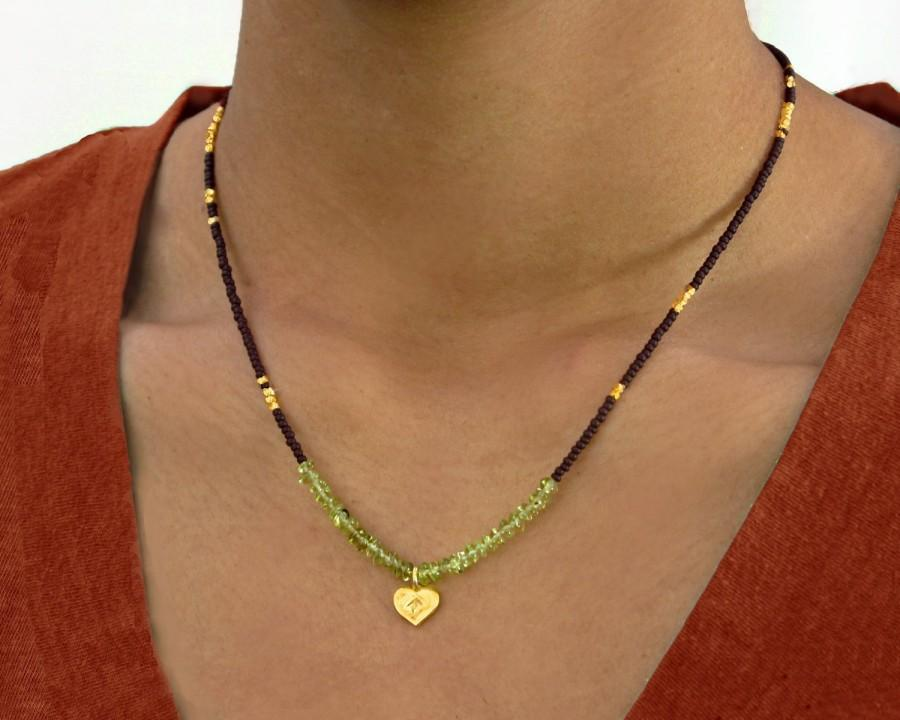 Свадьба - Peridot and Gold Lotus Heart Necklace for August Birthdays. Earthy, spiritual....Namaste.
