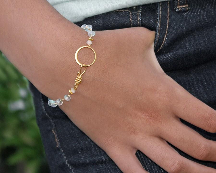 Свадьба - Moonstone Eternity Bracelet. Blue fire Moonstone Bracelet or Anklet. 22k Vermeil or Sterling Silver. B-2311