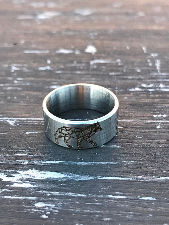 Свадьба - Origami  wolf laser engraved stainless steel unique stylish ring width 8mm gift for nature lover stylish gift for girlfriend  man woman