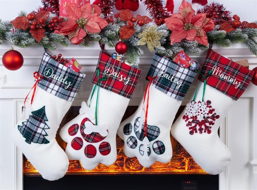 Свадьба - Christmas Stocking Personalized Stocking Family Stocking Monogram Stocking Dog Stocking Pet Stocking Cat Stocking Christmas Gift Embroidered