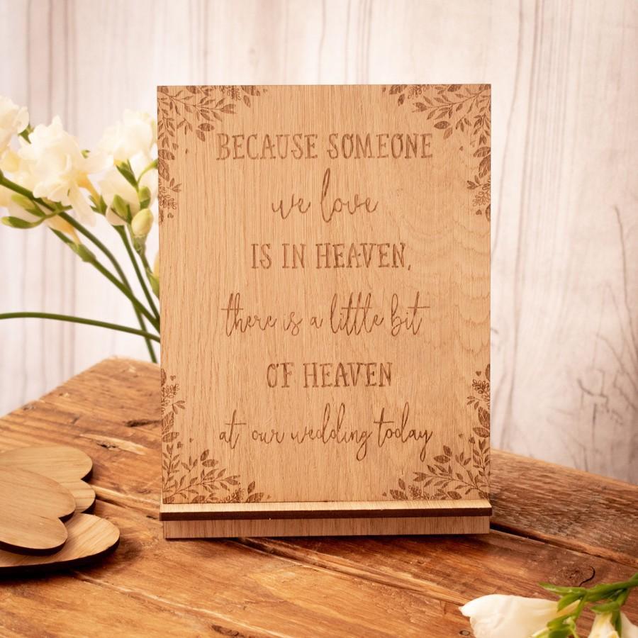 Свадьба - Because someone, wedding sign, memorial sign, wedding plaque, heaven wedding sign, wedding memorial, rustic sign, rustic wedding, 11WS
