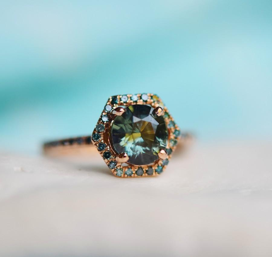 زفاف - final payment -Sapphire engagement ring. Peacock sapphire Hexagon halo blue green diamond ring 14k Rose gold ring by Eidelprecious