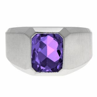 Свадьба - Emerald-Cut Amethyst Gemstone Custom Ring For Men In White Gold, Mens Gemstone Rings, Rings For Men, Mens Gemstone Jewelry, Mens Gold Ring