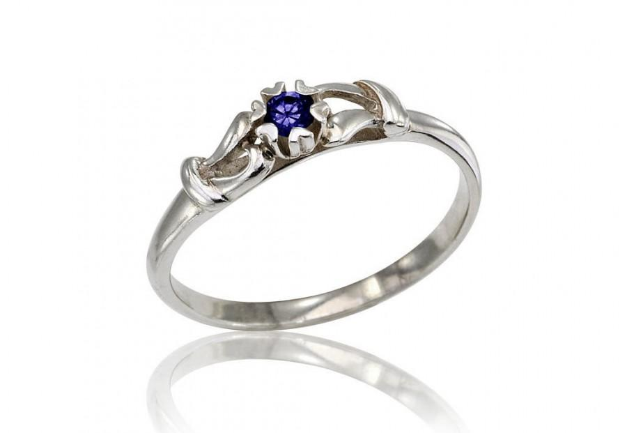 Свадьба - Sapphire Ring, Sapphire Engagement Ring, Delicate Sapphire Ring, Sapphire Bridal Ring, Floating Sapphire Ring, 14K Sapphire Jewelry