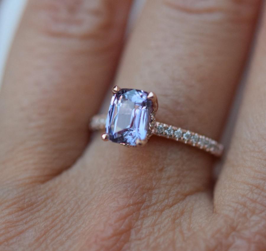 Свадьба - Lavender sapphire ring Engagement ring 14k rose gold diamond ring 1.64ct emerald cut lavender blue sapphire ring Blake ring by Eidelprecious
