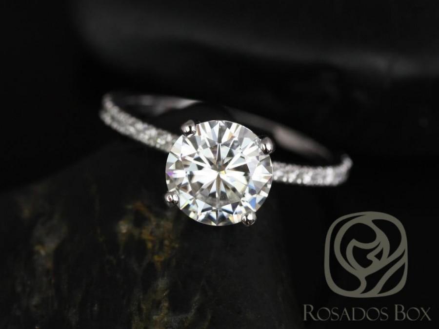 Свадьба - Rosados Box Sofia 8mm 14kt White Gold Round Forever One Moissanite Diamond Basket Engagement Ring