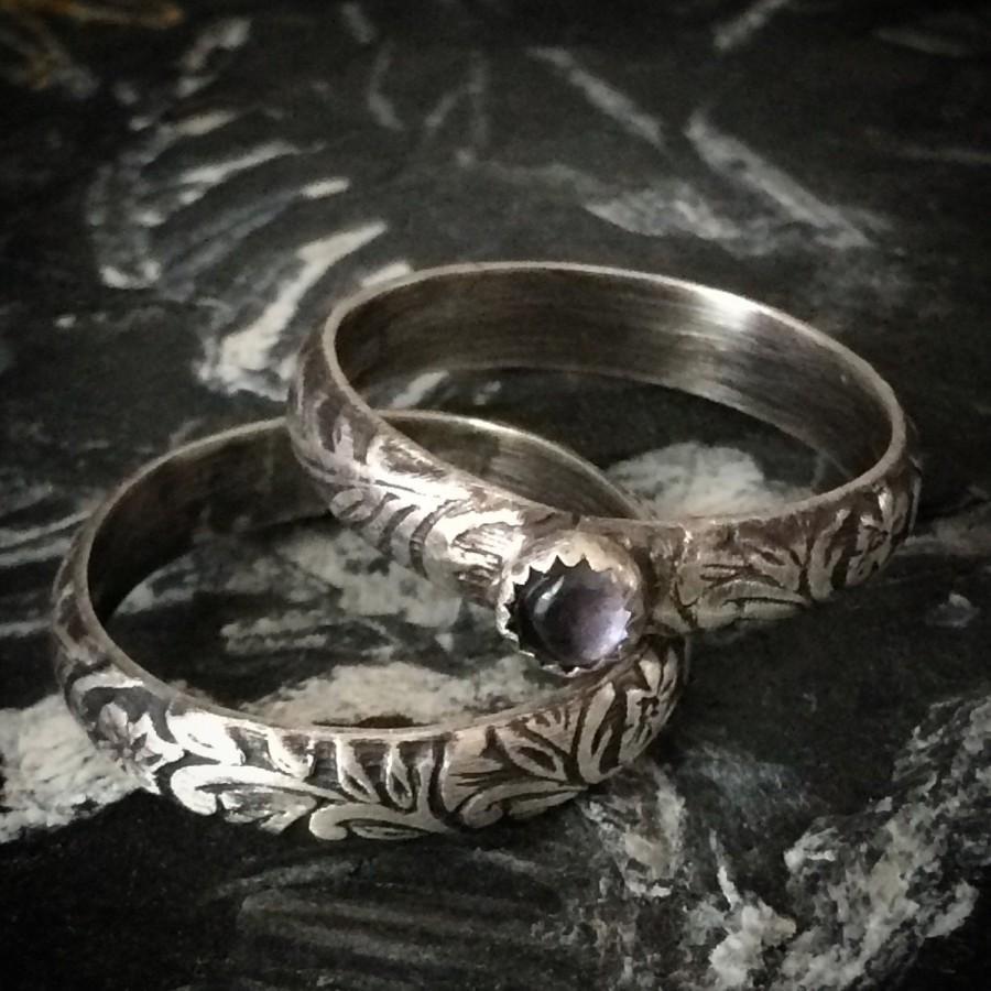 Свадьба - Feminine Solitaire Engagement Ring & Sterling Silver Wedding Band Set - CUSTOM Any Gemstone / Size - Antique Floral Pattern Wedding Set