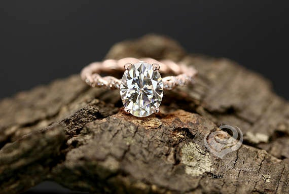 Свадьба - Certified 9x7mm/2.10 Carat Oval Forever One G-H Color Moissanite 14k Rose Gold Diamond Twisted Shank Engagement Ring(Other Stone Available)