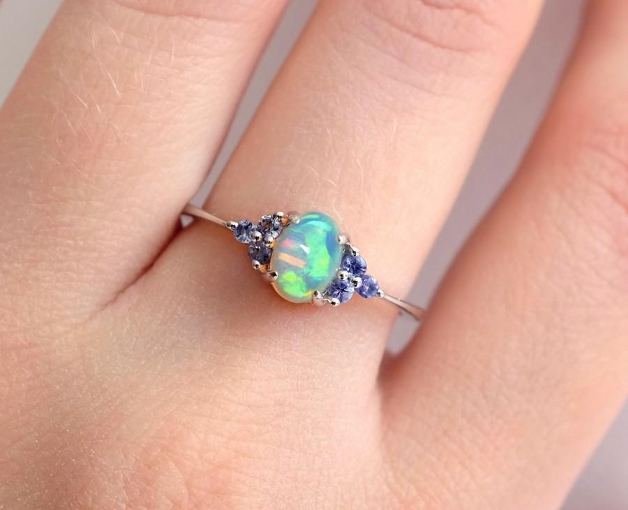 Свадьба - Rainbow opal ring in 925 Sterling Silver and blue tanzanite gemstones; tiny dainty ring for women birthday gift for her Mother's day gift