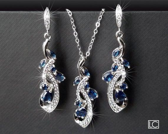 Hochzeit - Navy Blue Bridal Jewelry Set, Blue Zirconia Earrings&Necklace Set, Wedding Jewelry Set, Sapphire Crystal Set Chandelier Earrings Pendant Set