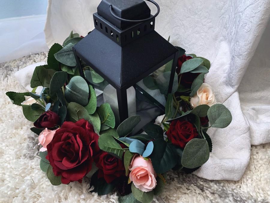 Mariage - Burgundy Wedding Table Centerpiece Lantern Wreath Candle Centerpiece Package Handmade Artificial Faux Flowers Burgundy Maroon Flowers
