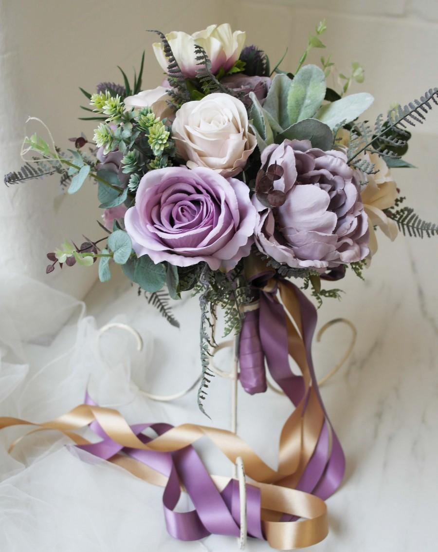Свадьба - Purple silk wedding bouquet, desitnation wedding bouquet, handmade wedding flowers, natural rustic flowers, mauve silk bouquet