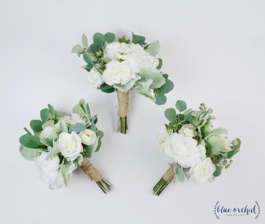 Mariage - wedding flowers, wedding bouquet, bridesmaid bouquet, silk bouquet, white, peonies, eucalyptus, destination wedding, boho, white and green