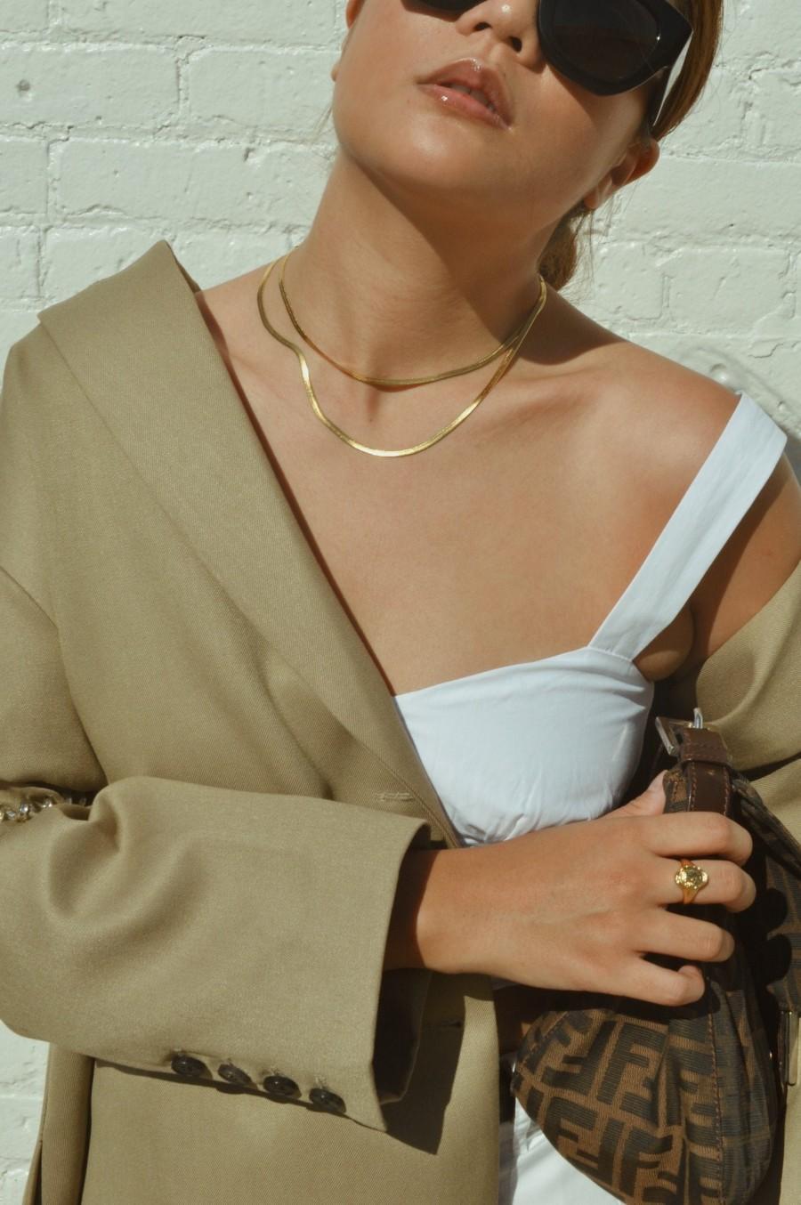 زفاف - 14k gold snake chain, Thick Chain Choker, gold snake chain, flat chain necklace, Gold Herringbone chain ,snake chain choker,