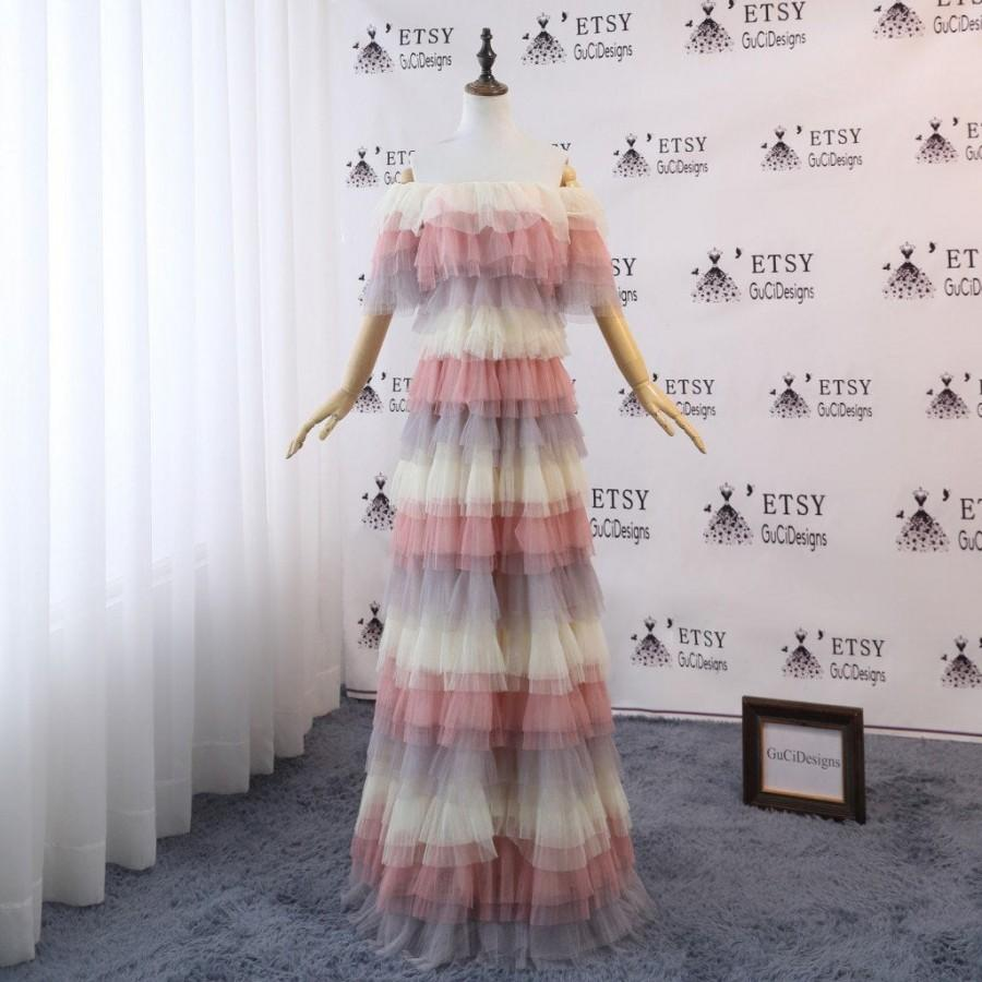 Wedding - Modest Bridesmaid Dress Long Rainbow Tulle Dress Pink Champagne Lilac Layered Dress Tiered Skirt Prom Dress Off Shoulder Bride Wedding Gown