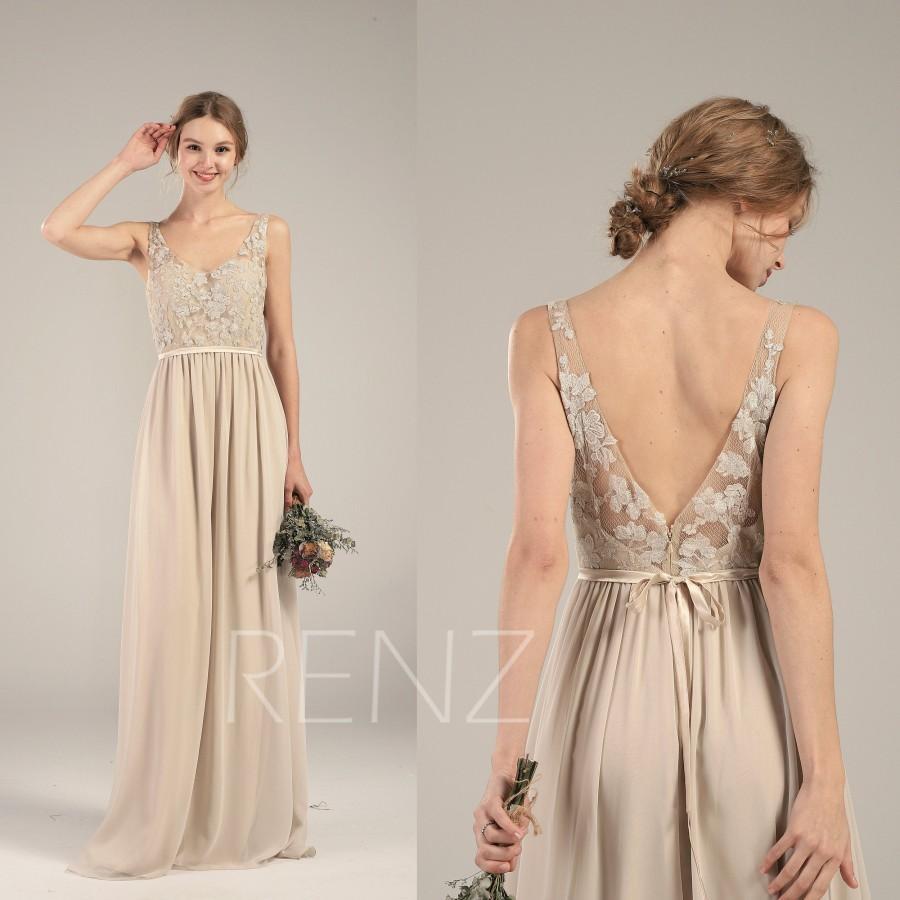 Wedding - Bridesmaid Dress Cream Chiffon Dress Wedding Dress Lace Illusion V Neck Maxi Dress with Sash V Back Party Dress Sleeveless Prom Dress(L460)