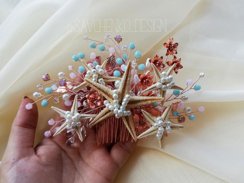 Hochzeit - pink and blue beads beach wedding hair accessories