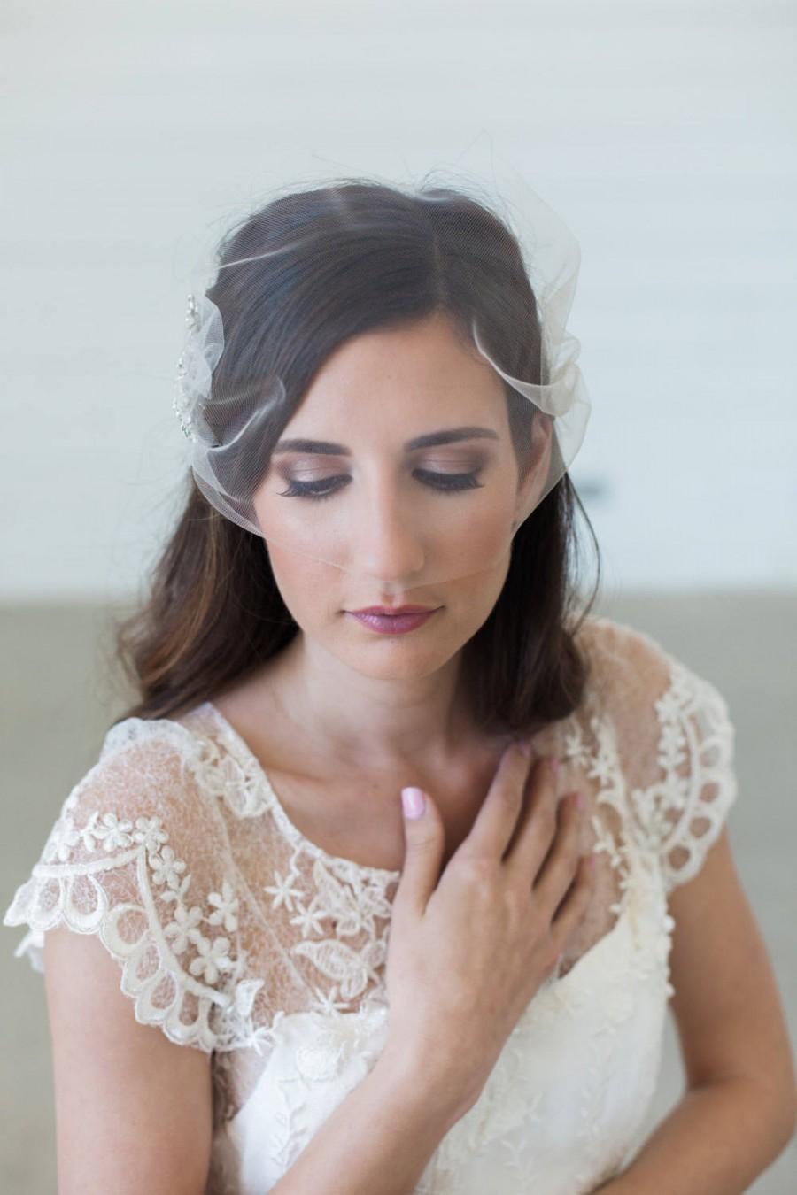 Wedding - Tulle Birdcage veil, Blusher veil, Tulle Bridal Veil, Tulle wedding veil, simple veil, short veil, Bandeau Birdcage Veil, wedding veil