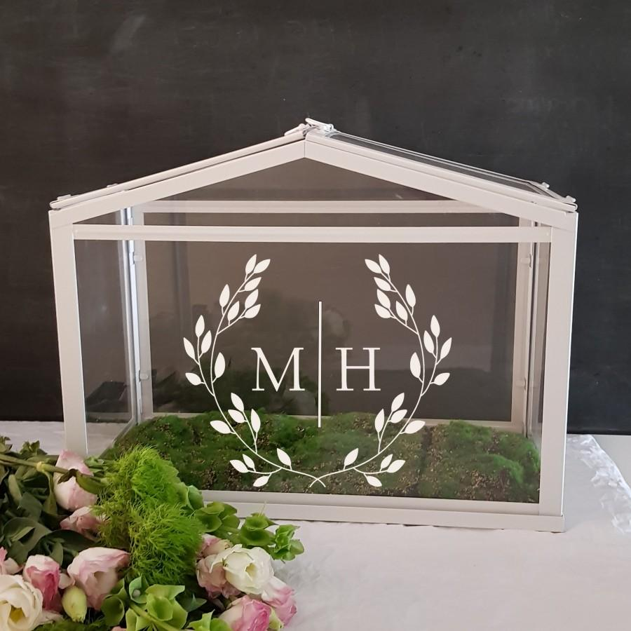 Mariage - Personalized Wishing Well or Card Box Decal ONLY - Wreath Monogram - Wedding Sign