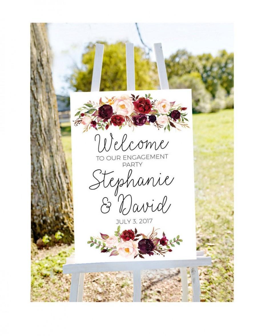 زفاف - Engagement party welcome sign, welcome to our engagement, burgundy welcome sign, engagement welcome sign burgundy engagement fall engagement